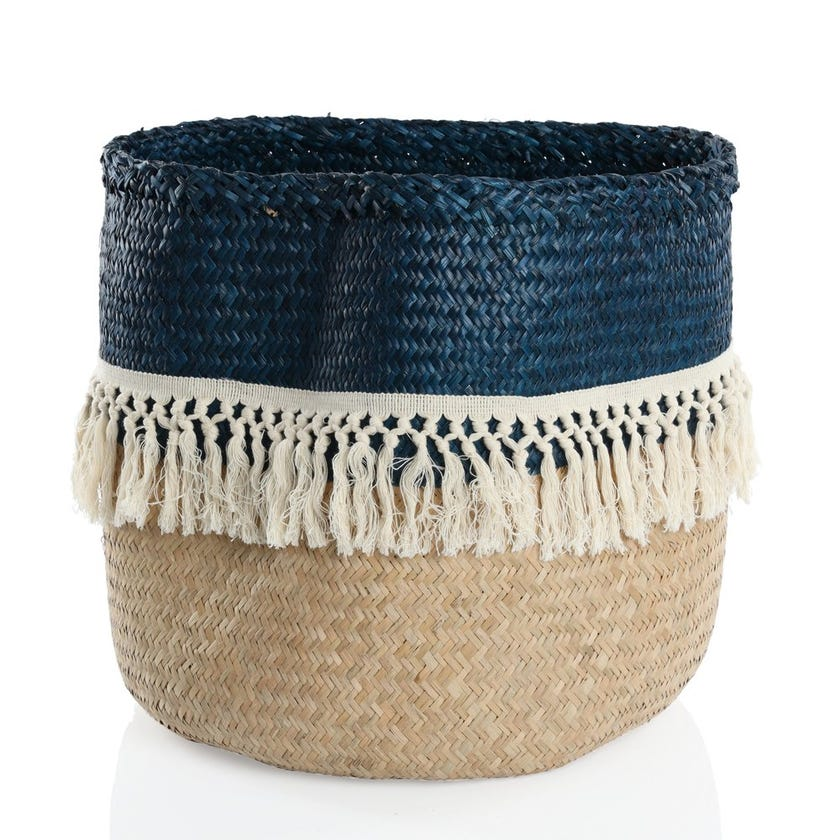 Seagrass Woven Basket with Tassels, Duo (Natural/ Blue, Large)