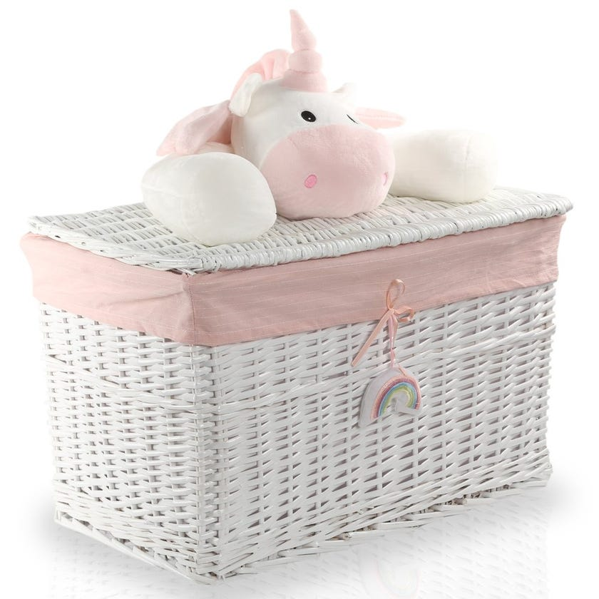 Unicorn Willow Hamper with Lid, White/Pink - 40 cms