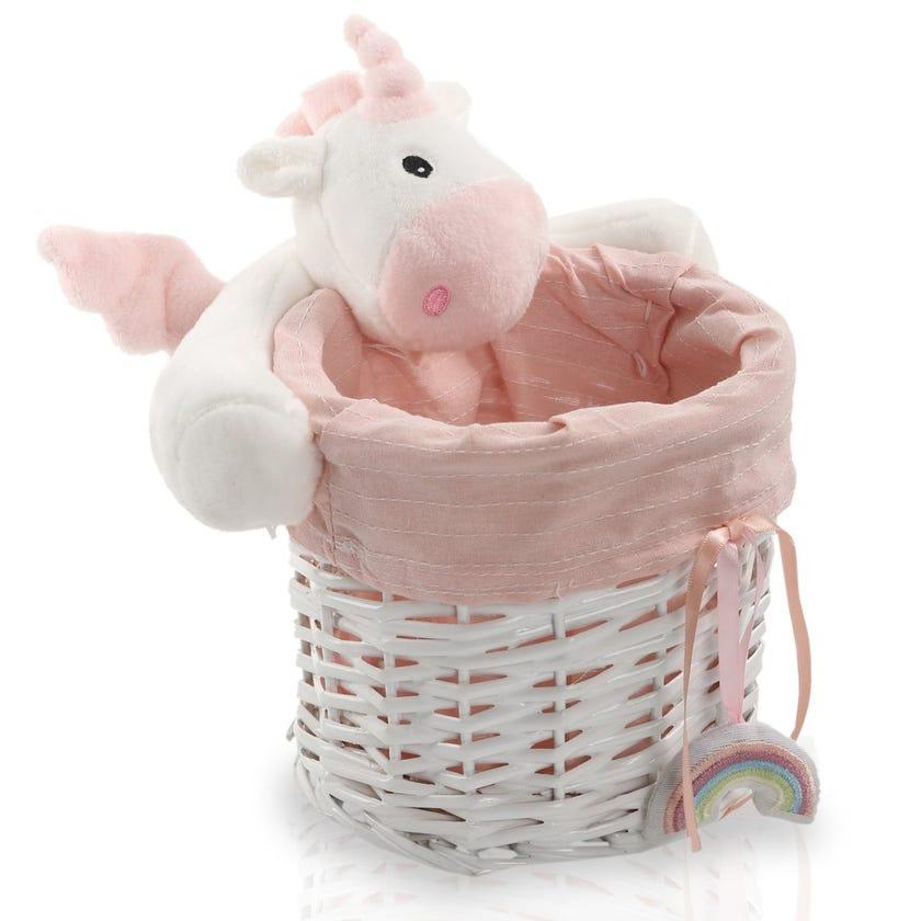 Unicorn Willow Round Basket, White/Pink - 16 cms