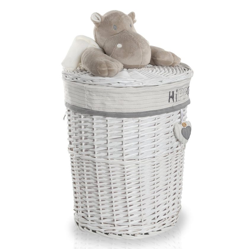 Hippo Willow Hamper with Lid, White/Grey - 60 cms