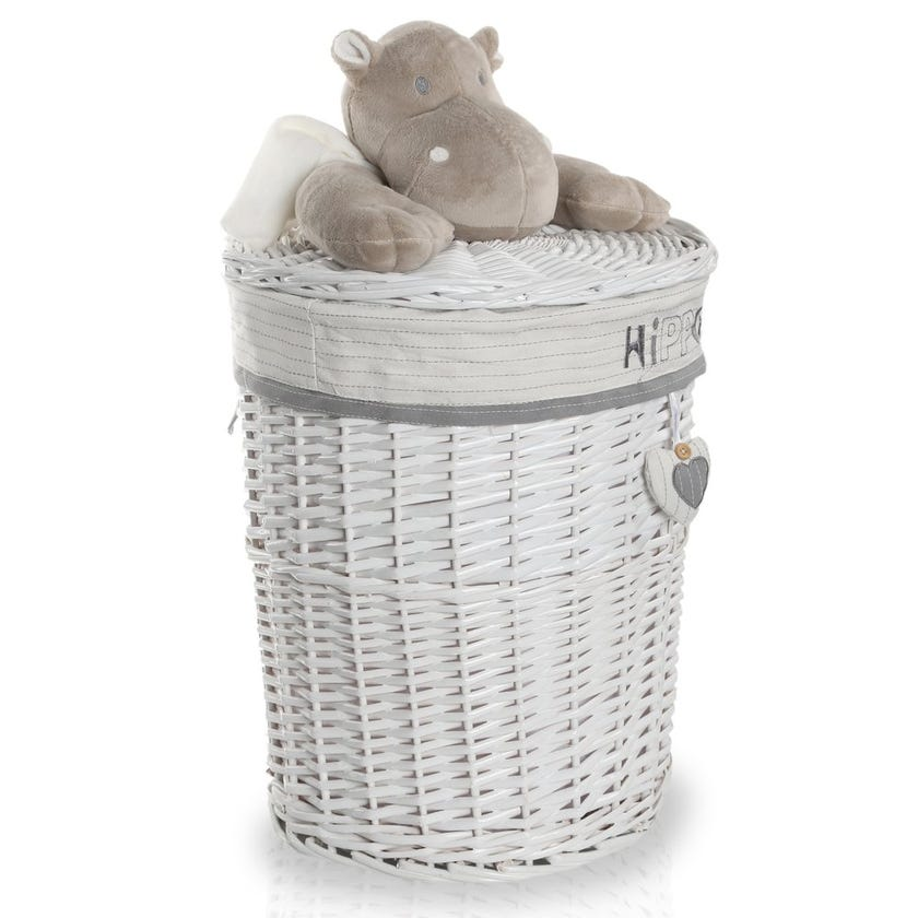 Hippo Willow Hamper with Lid, White/Grey - 45 cms
