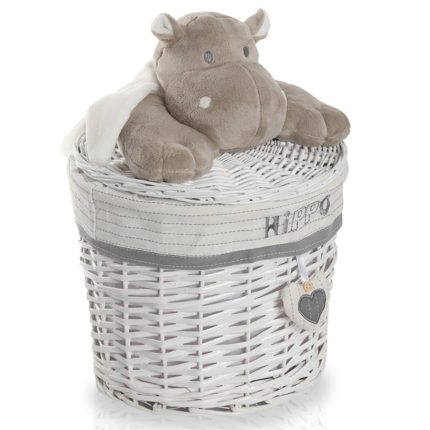 Hippo Willow Hamper with Lid, White/Grey - 26 cms