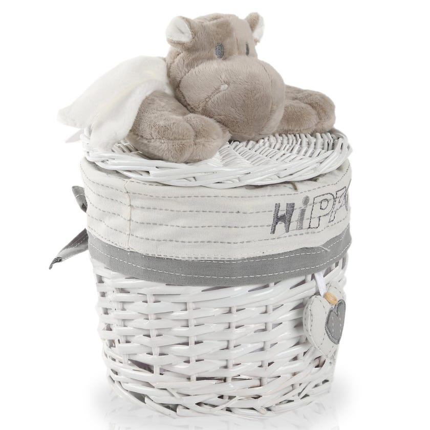 Hippo Willow Hamper with Lid, White/Grey - 18 cms
