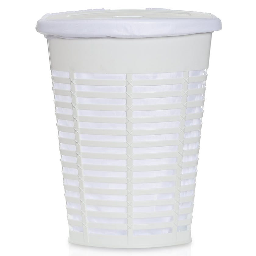 Palm Laundry Basket, White - 60 cms