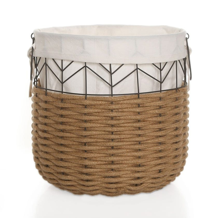 Round Basket with Lining, Natural & White - 46 cms
