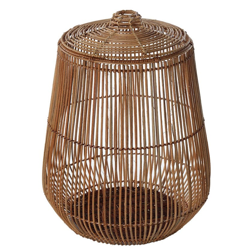 Pear Rattan Basket with Lid, Natural - Large, 41 cms