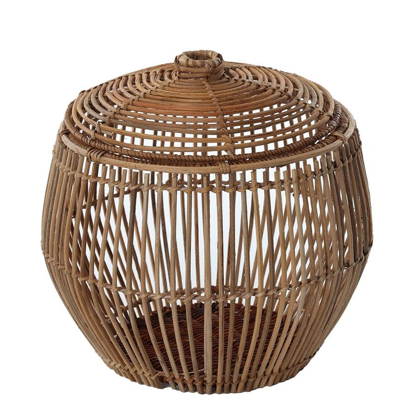 Rattan Basket with Lid, Natural - Small, 30 cms