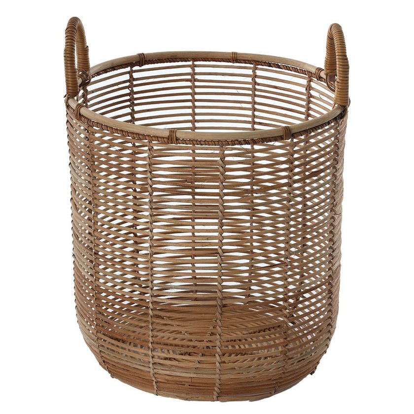 Rattan Basket with Handle, Natural - Large, 36 cms