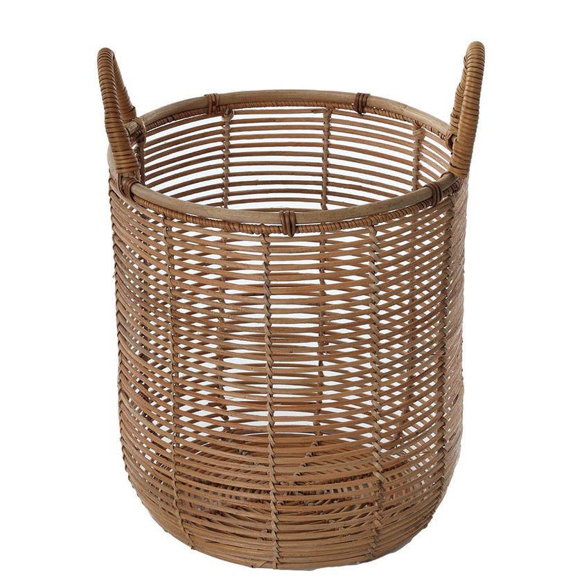 Rattan Basket with Handle, Natural - Small, 30 cms