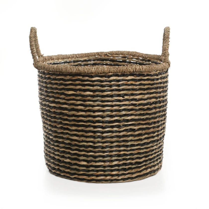 Boho Basket, Natural and Black - 27 cms