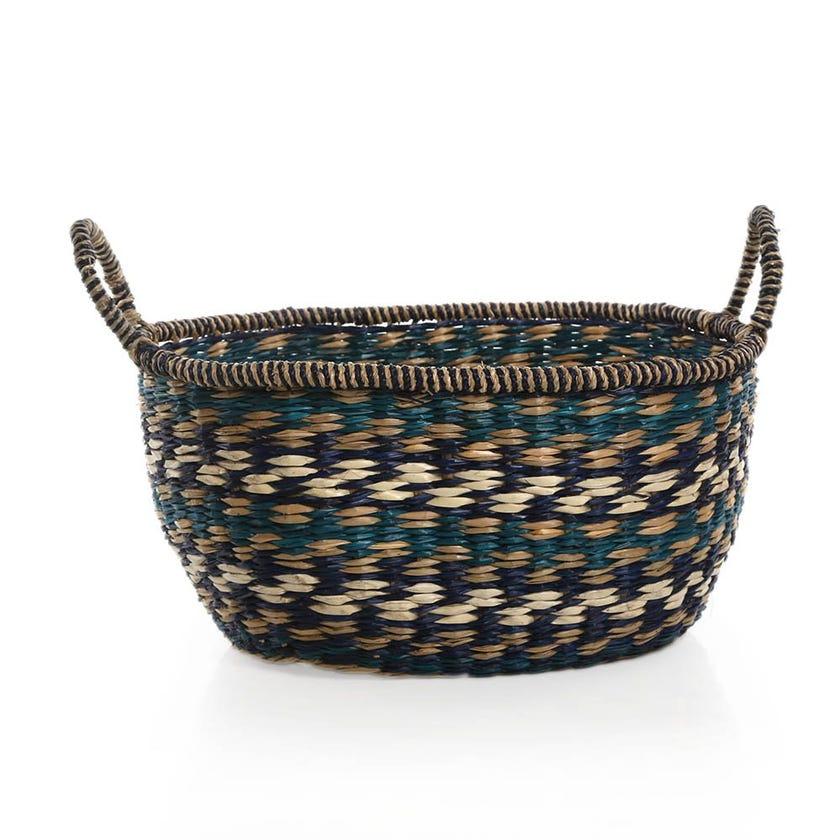 Boho Basket, Blue and Green - 24 cms