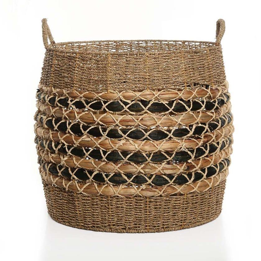 Boho Basket, Natural and Black - 58 cms