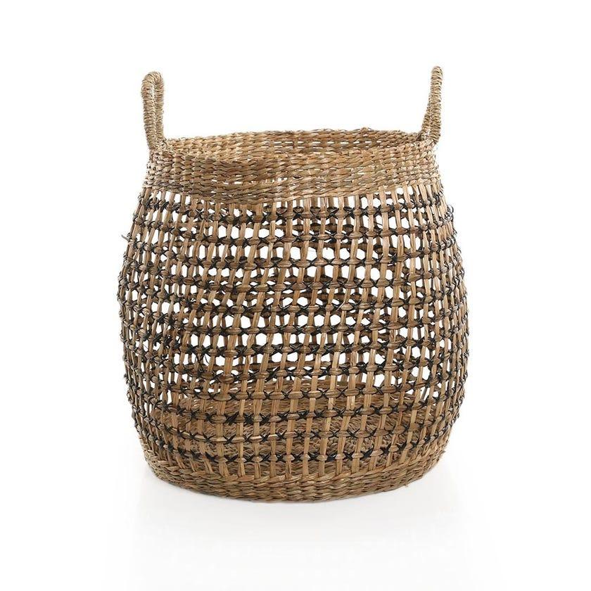 Boho Basket, Natural and Black - 41 cms