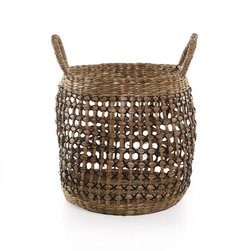 Boho Basket, Natural and Black - 30 cms