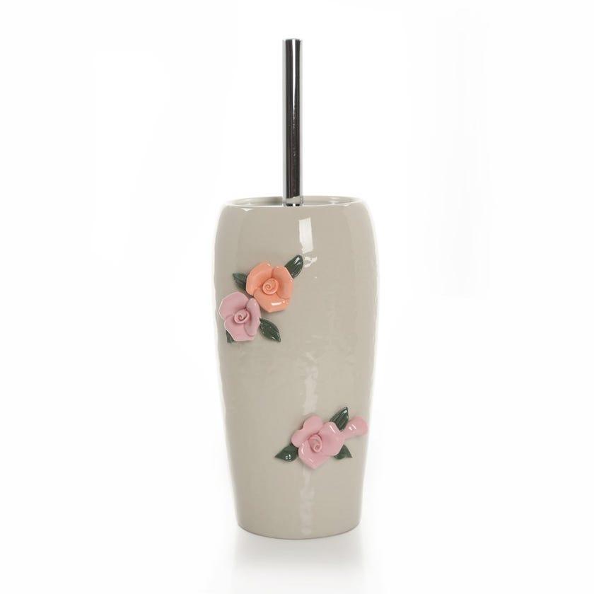 Floral Earthenware Toilet Brush Holder
