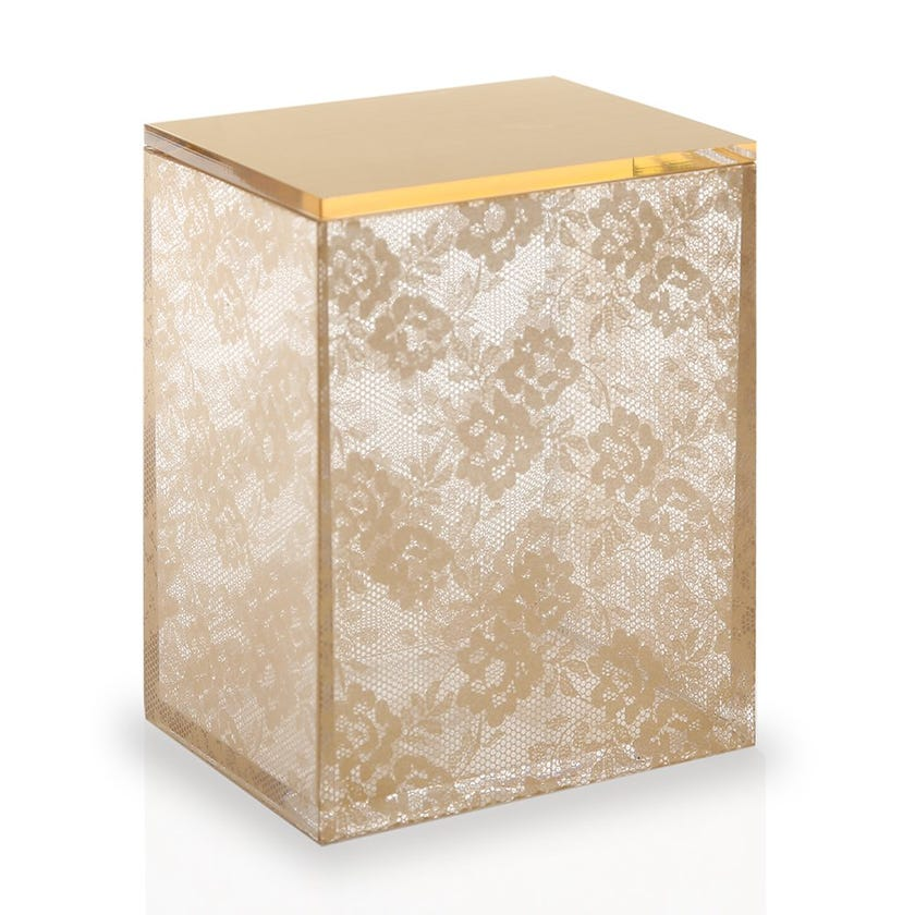 Mesh Container with Lid, Gold - Medium