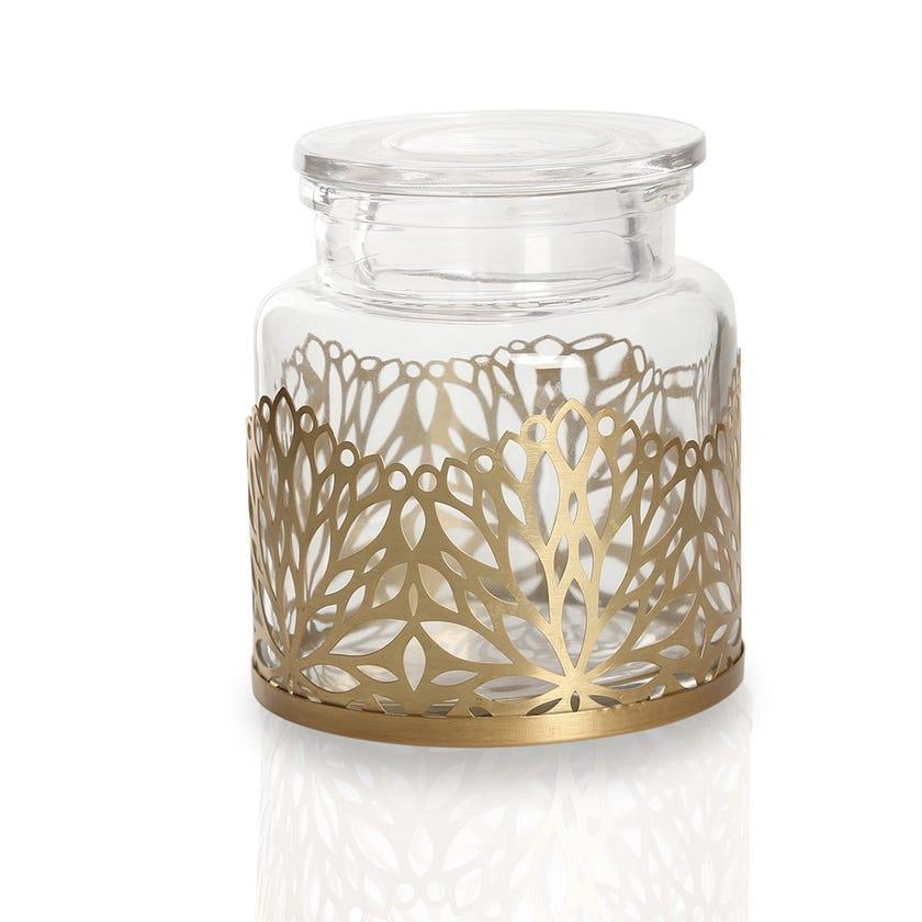 Cutwork Leaf Cotton Jar, Clear