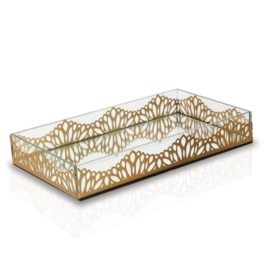 Cutwork Leaf Tray, Clear & Brush Gold