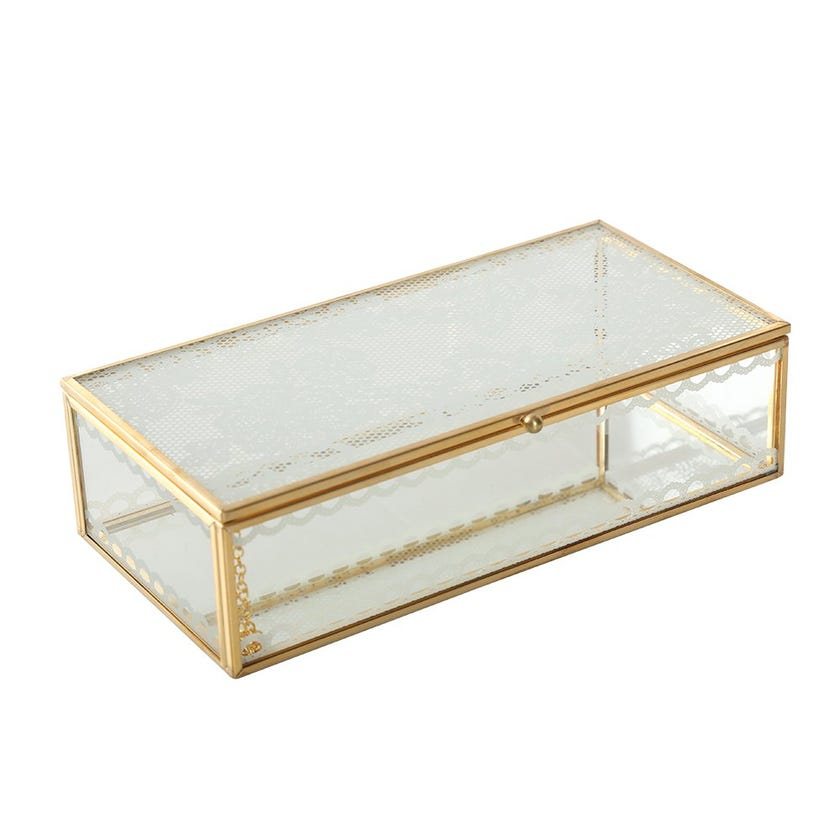 Glass and Metal Box, Gold - 20 X 10 cms
