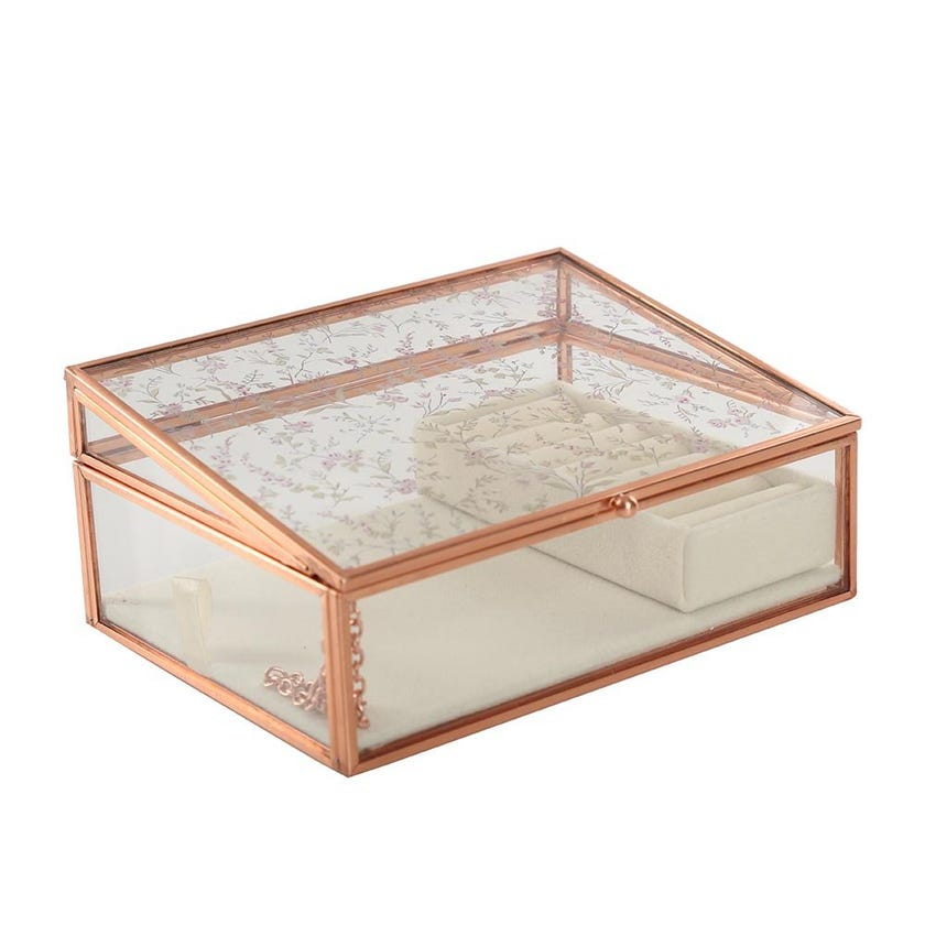 Glass and Metal Box, Rose Gold