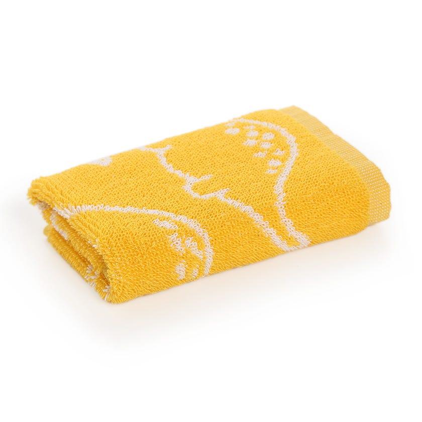 Dino Kids Cotton Towel, Yellow - 30 x 30 cms