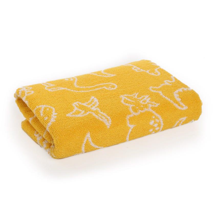 Dino Kids Cotton Towel, Yellow - 60 x 120 cms