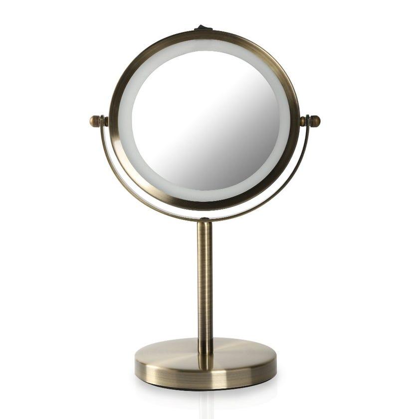 LED Vanity Mirror, Brass - Small
