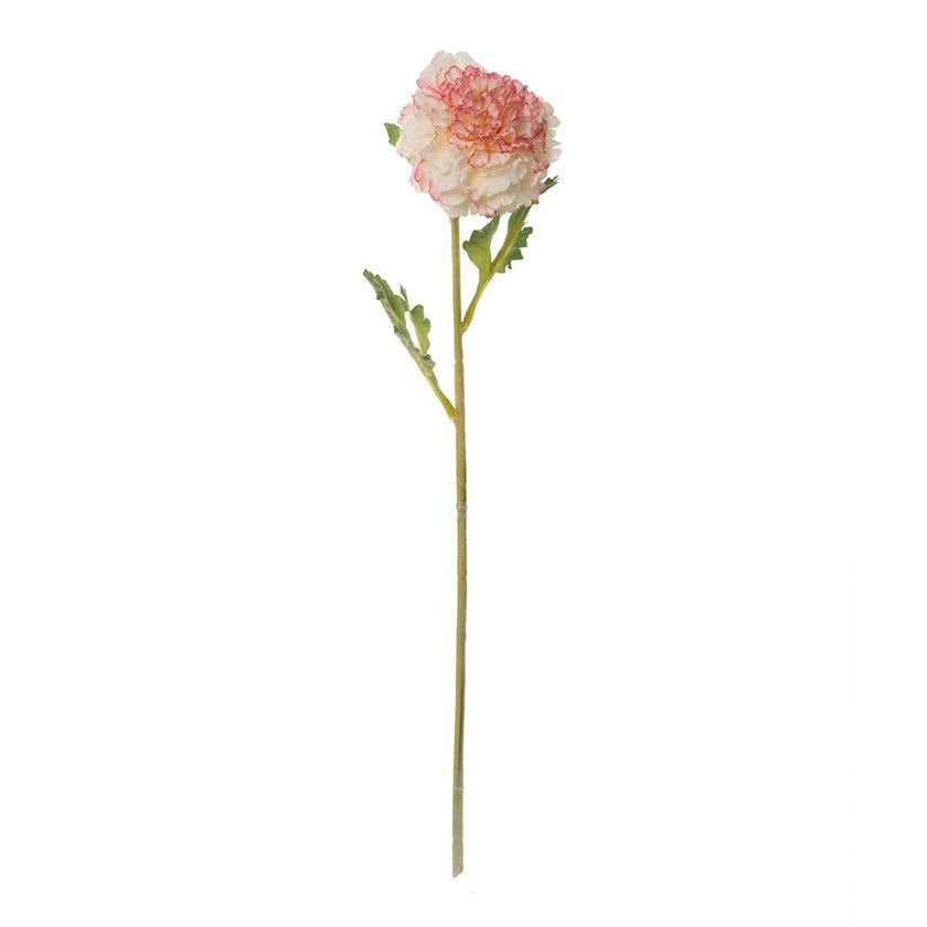 Ranunculus Raffle Flock Artificial Flower, Cream & Red – 44 cms