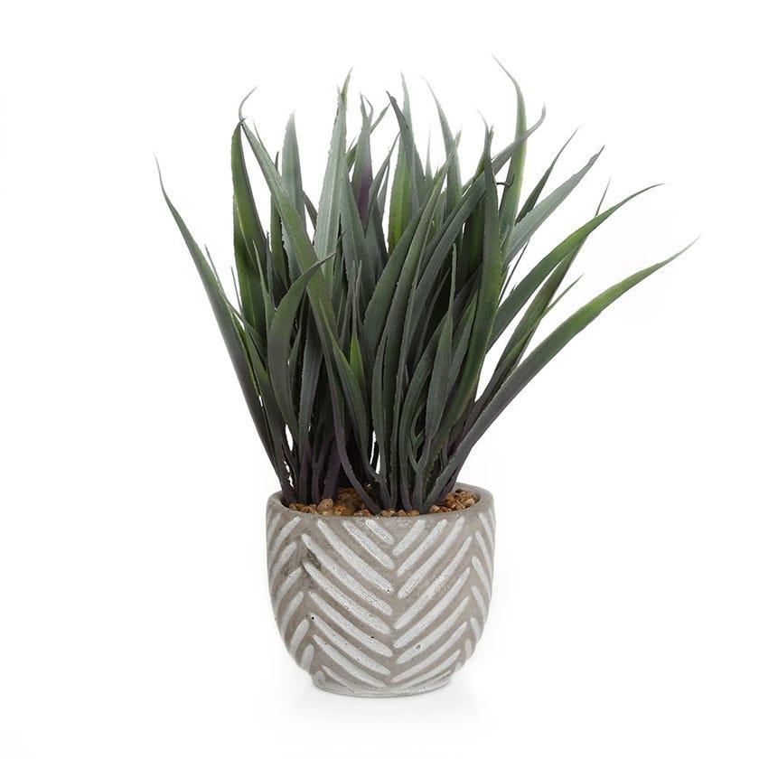 Artificial Grass in Stripe Cement Pot, Green - 23 cms