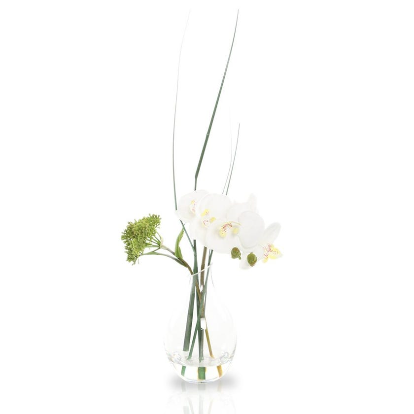Artificial Orchid Plant with Glass Pot, White – 25 cms