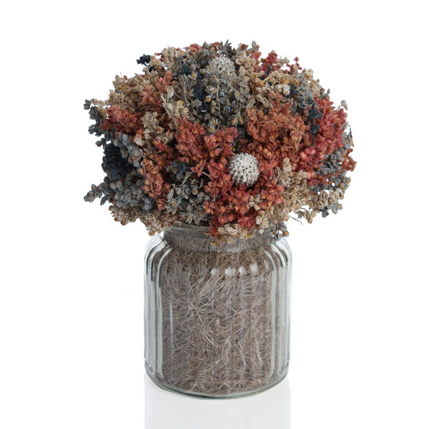 Artificial Dried Flowers with Glass Jar (Blue, 28 cms)