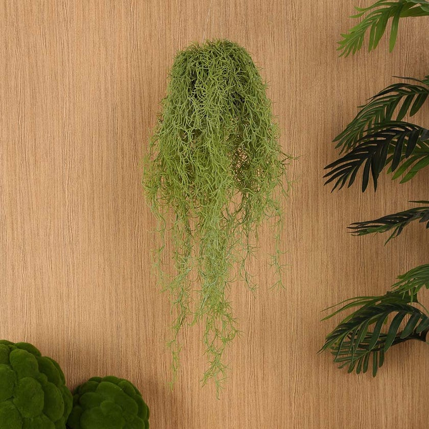 Hanging Faux Indoor Air Plant, Green