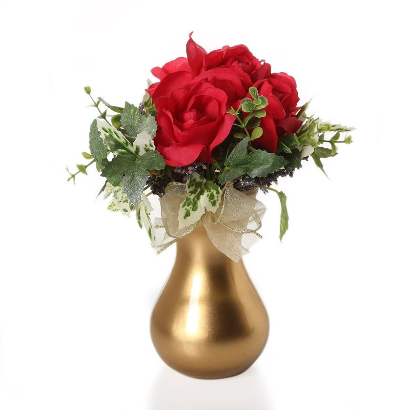 Artificial Red French Roses with Leaves in Golden Glass Vase – 24.5 cms