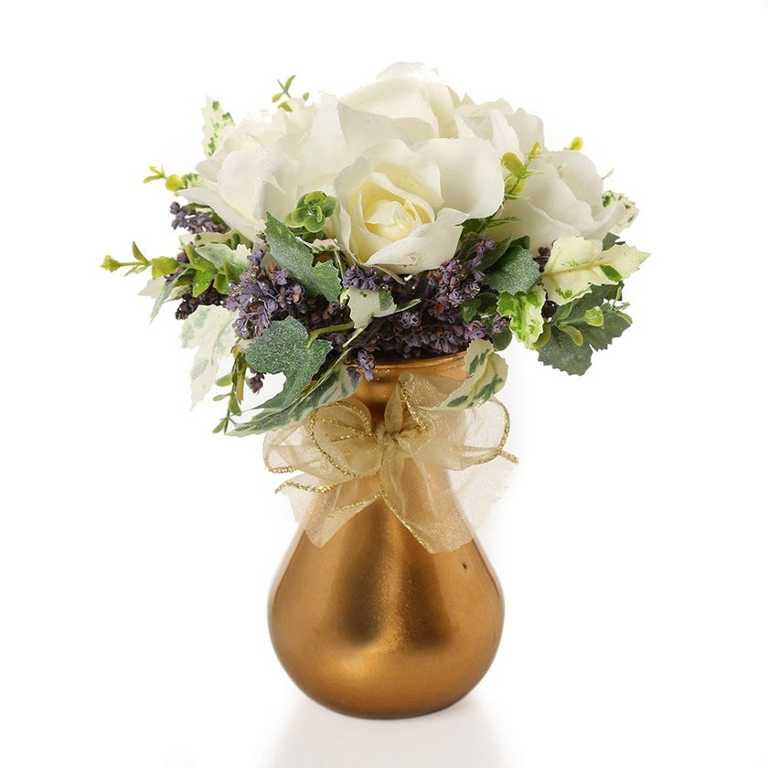 Artificial White French Roses with Leaves in Golden Glass Vase – 24.5 cms