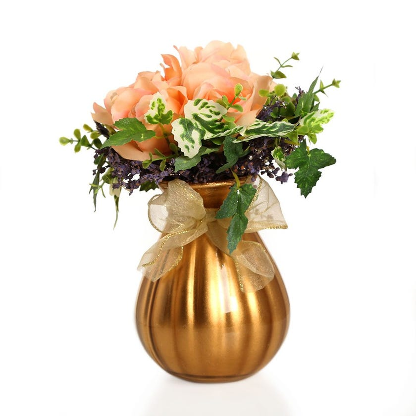 Artificial French Rose with Leaves in Golden Glass Vase – 24.5 cms