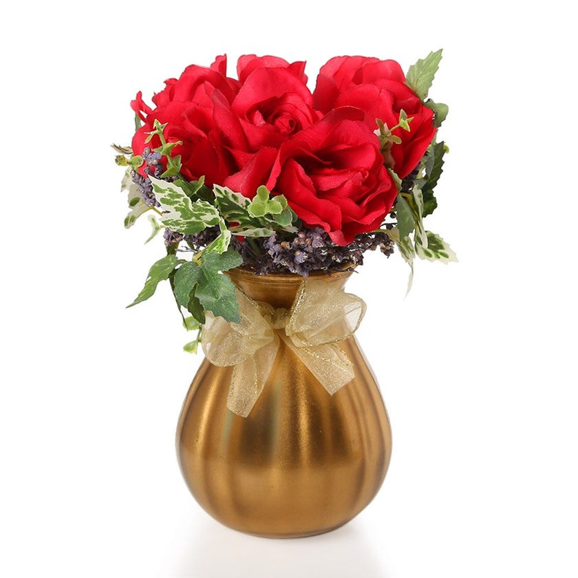 Artificial Red French Roses with Leaves in Golden Vase – 24.5 cms
