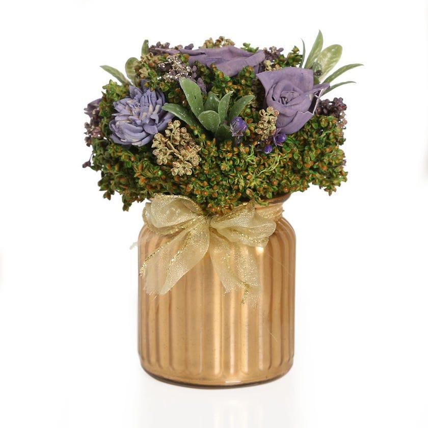 Mix Shola Lavender Artificial Flowers in Golden Glass Vase – 16.5 cms