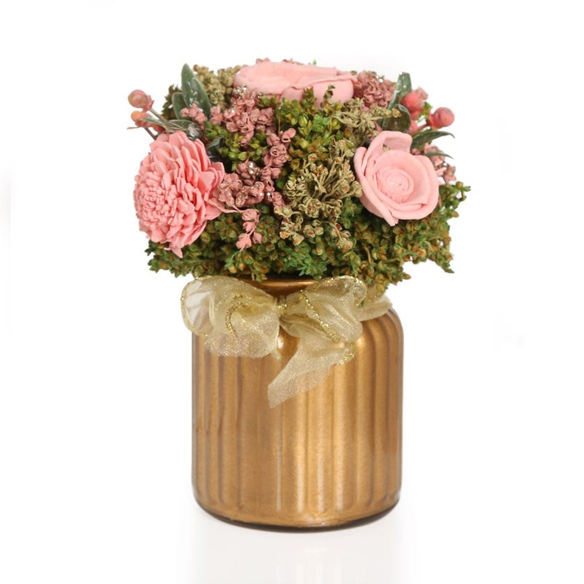 Mix Shola Pink Artificial Flowers in Golden Glass Vase – 16.5 cms
