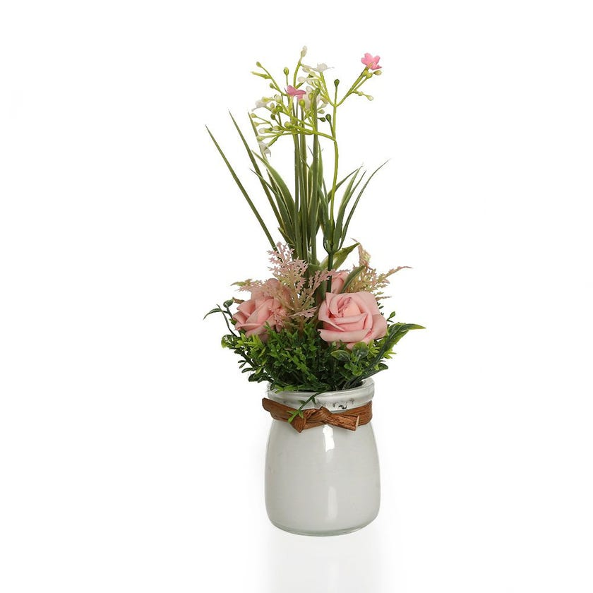 Garden Pink Roses with Gypso in White Glass Vase – 22.5 cms