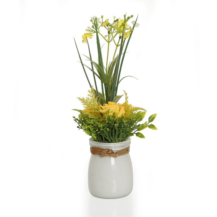 Garden Yellow Roses with Gypso in White Glass Vase – 22.5 cms