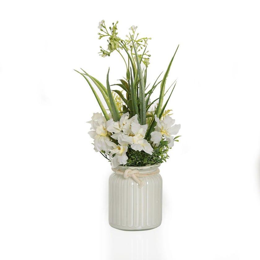 Iris with Gypso in White Glass Jar – 29 cms
