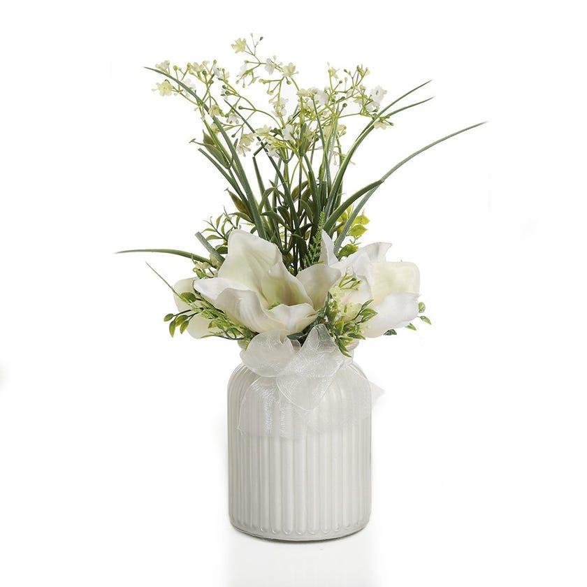 Magnolia with Gypso in White Glass Vase