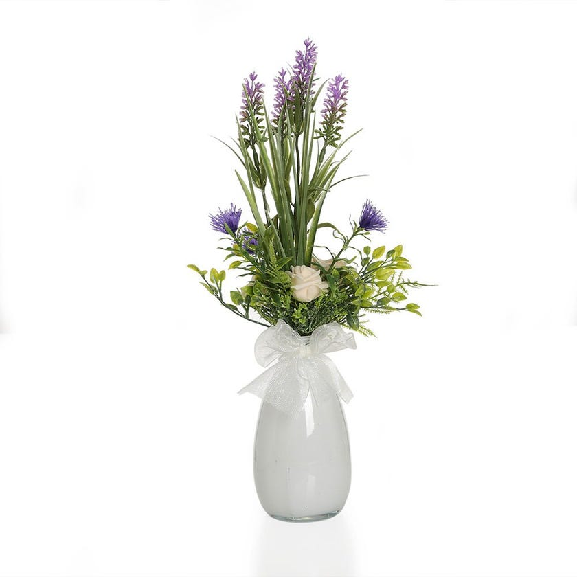 Lavender Garden with Rose in White Glass – 35 cms