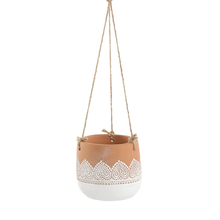 Lace Hanging Pot, White & Terracotta – 11 cms