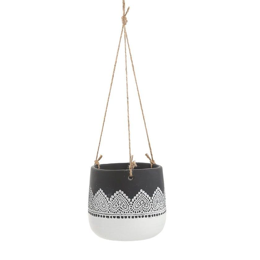 Lace Hanging Pot, White & Black – 16 cms