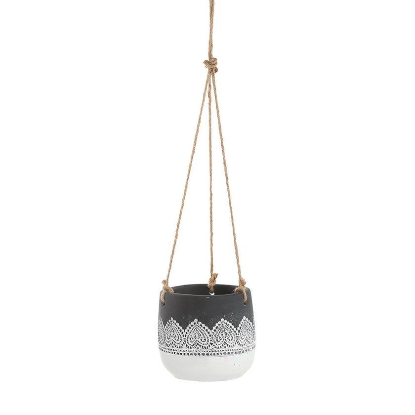 Lace Hanging Pot, White & Black – 11 cms