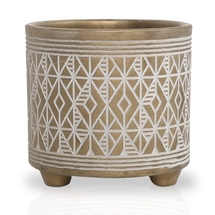 Folklore Festive Planter, Warm Gold – 15 cms