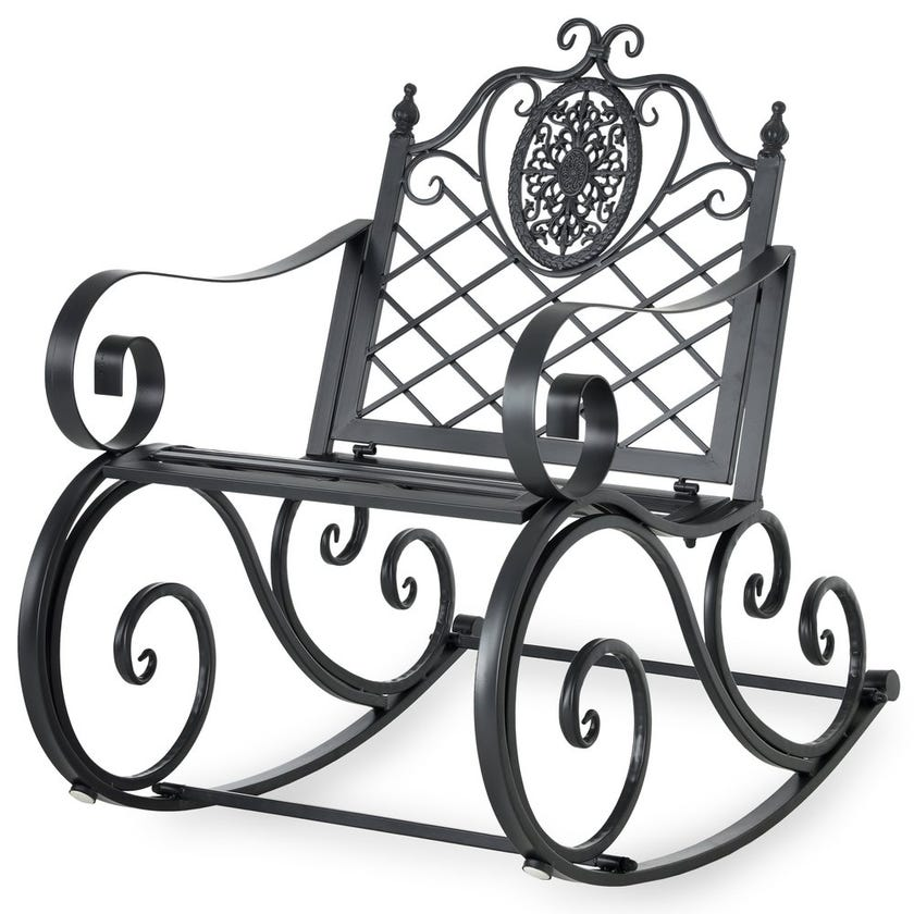 Louise Metal Rocking Chair, Silver/Grey