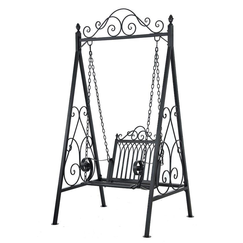 Louise Metal Swing Chair, Silver/Grey