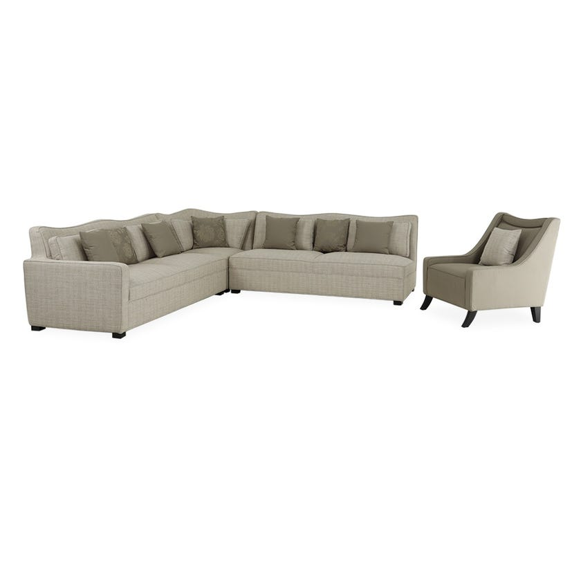 New Samson 7-Seater Fabric Upholstered Corner Sofa and Armchair, Beige
